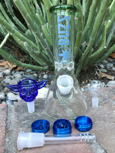 "New 8"" Glass Beaker Best Water Bong Blue Yoda Glass Herb Bowl - Volo Smoke and Vape"