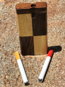 "4"" Swivel Cap, Tic-Tac-Toe Design Wood Dugout/Stash Box and One Hitter"
