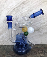 "Best 8"" Thick Glass Water Recycler/Rig/ Pipe w/3 Glass Colored Spheres & 14mm Male Bowl"