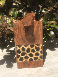 "Raw Natural Wood 4"" Stash Box Leopard Design with Black Metal Push Down Rod"