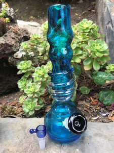 "Blue 12"" Thick Soft Glass Hookah Water Bong Glass on Glass 2 Herb bowls"