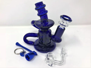 Mini Glass Double Recycler Water Rig, Herb Bowl + FREE Alum Mush Pipe - Volo Smoke and Vape