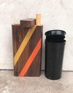 "4"" Inch 2-Stripe (Orange & Yellow) Wood Dugout + 3"" Metal Bat One-Hitter Pop Top"