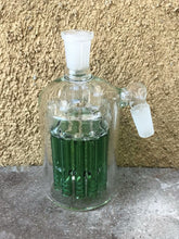 14mm Male Thick Glass Ash Catcher, 11 Arm Green Tree Perc - Green