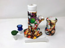 "9"" Thick Silicone Detachable & Unbreakable Bong in Mario Bros Graphic Design with 2-14mm Slide Bowls"