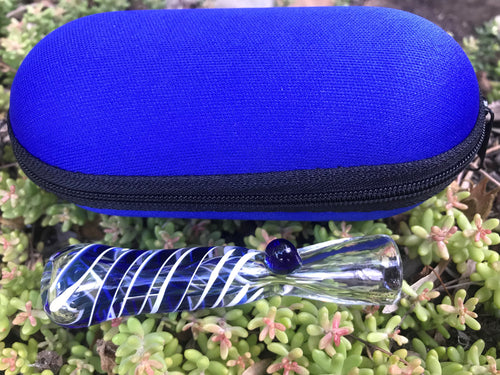 One Hitter Pipe glass hand pipe cigarette w/Zipper Padded Pouch-Blue - Volo Smoke and Vape