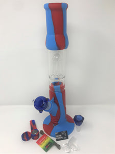 "15"" Silicone Detachable Tree Perc Best Water Bong 3 Herb Bowls Hemp Wick Screens - Volo Smoke and Vape"