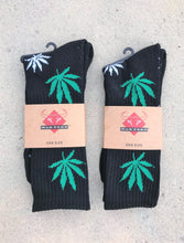 Mad Toro Socks Black with Green & White Leaves - 2 Pair