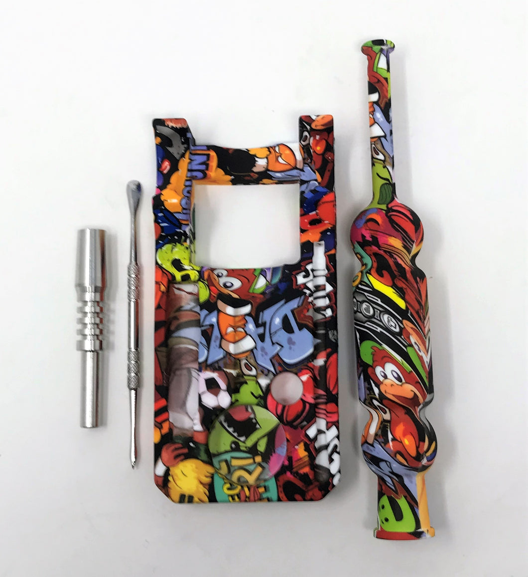 Silicone Nectar Kit w/Honey Straw Dab Tool Titanium nail Cartoon Design