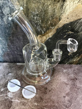"7"" Clear, Thick Glass Rig Dome Perc w/14mm Quartz Banger, Tool & Container"