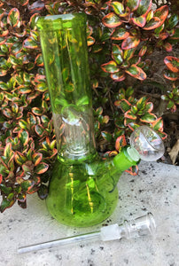"8"" Beaker Dome Percolator Glass Water Bong Ice catchers 2-Slide Stems with Bowl"