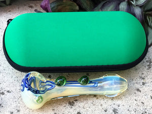 "Glass Handmade 4.5"" Hand Pipe Best Glass Fumed w/Zipper Padded Hard Case - Green - Volo Smoke and Vape"