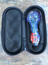 "Thick Glass 4.5"" Multi Color Swirl Best Handmade Hand Pipe Zipper Padded Pouch"