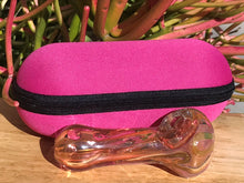 "Elegant! 4.5"" Gold/Pink Swirl Fumed Glass Handmade Best Hand Pipe Zipper Pouch"