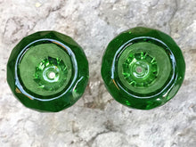 Thick Glass 18MM Male Green Round Diamond Cut Herb Bowl (2Pack)