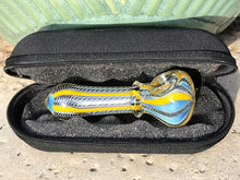 "4.5"" Fumed Glass Handmade Spoon Hand Pipe Zipper Padded Hard Case"