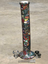 "14"" Straight Thick Silicone Bong in Multi Color Design with Large, Clear Diamond Bowl + Xtra Bowl"