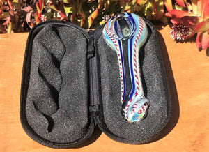 Thick Fumed Glass with Dicro Stripe Best Spoon Hand Pipe Zipper Padded Hard Case