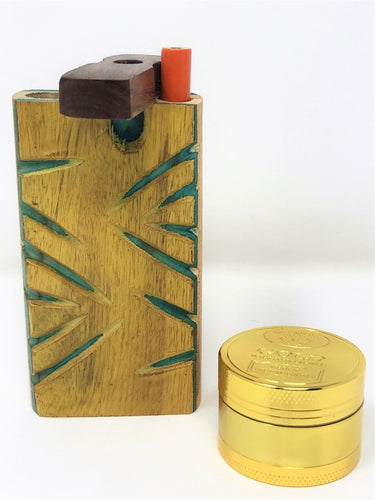 Carved Wood Dugout with metal bat + FREE grinder - Volo Smoke and Vape