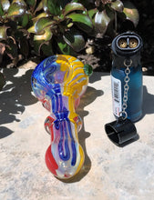"Best 4"" Thick Fumed Glass, Tobacco Spoon Hand Pipe & Double Jet Torch Lighter"