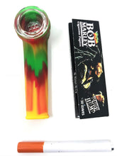 "6 1/2"" Water Rig- High Quality Glass Bubbler Rasta + FREE Pipe & Papers - Volo Smoke and Vape"