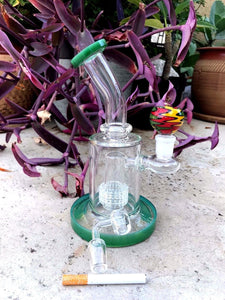 "8.5"" Bent Neck Glass Hookah Bong with FREE Bucket, Bowl and 1 Hitter - WP28 - Volo Smoke and Vape"