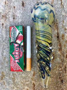 "THICK Glass Tobacco Hand Pipe 6"" w/Swirl glass handle + FREE Juicy Jay - Volo Smoke and Vape"