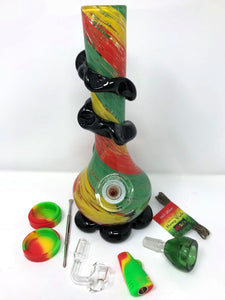 "10"" soft glass bong Rasta w/bucket,Tool,Container,1 Hit silicon - Volo Smoke and Vape"