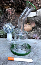 "8"" Bent Neck Glass Water Hookah - Green Lip and Base - Volo Smoke and Vape"