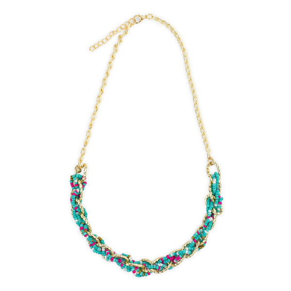 Annie Necklace in Twisted  Gold and Blue and Pink Beads by Mint and Moss