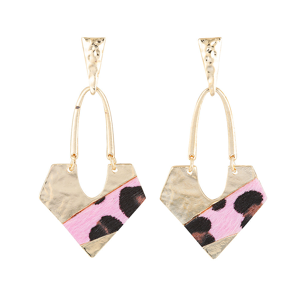 Blondie Statement earrings in Pink Leopard Print & Gold by Mint and Moss