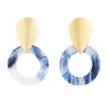 Bobbi Statement Earrings in Blue and Gold by Mint & Moss