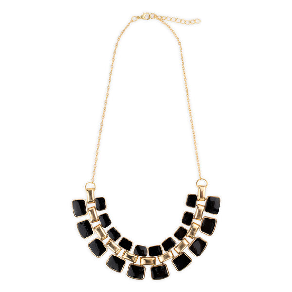 Bowie Necklace in Black and Gold Art Deco Pattern By Mint and Moss