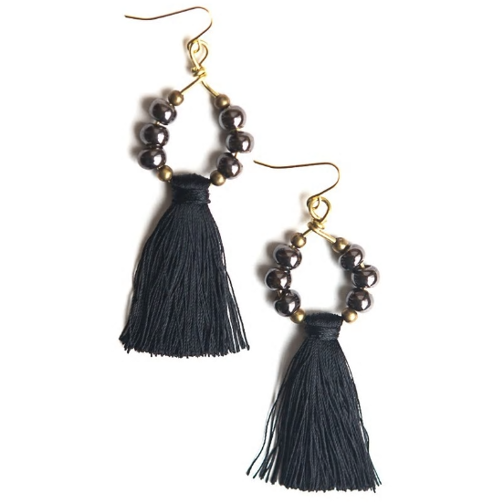 Metalic Ceramic Tassel Earrings