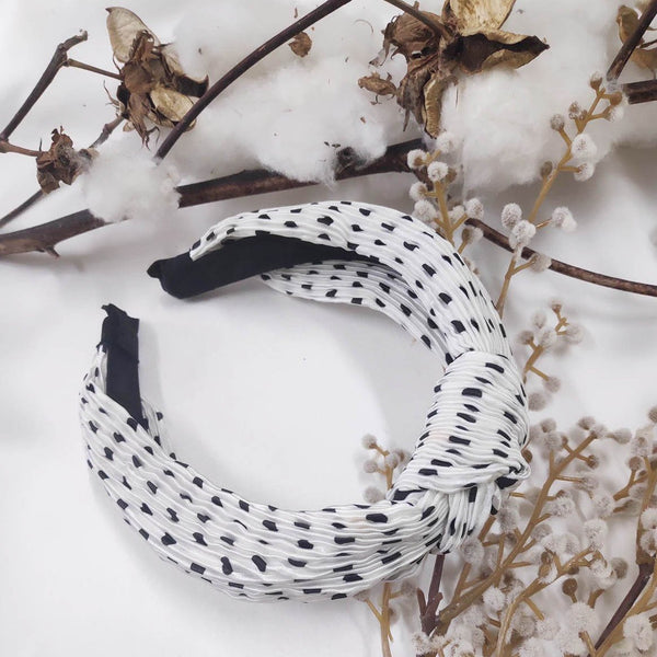 Spotty Knotted Headband Black & White