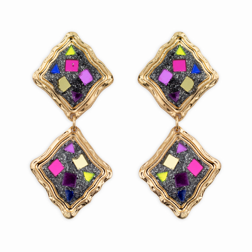 80's vibe art deco earrings in gold and multi colour.