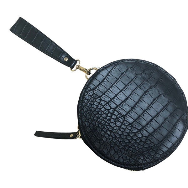 The Logan Bag in Black Croc print by Mint & Moss