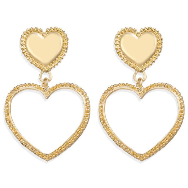 Gold heart statement earrings by Mint and Moss