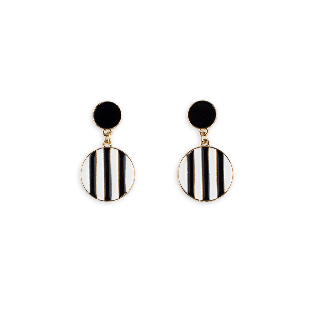 Black White and Gold Earrings Stud by Mint and Moss