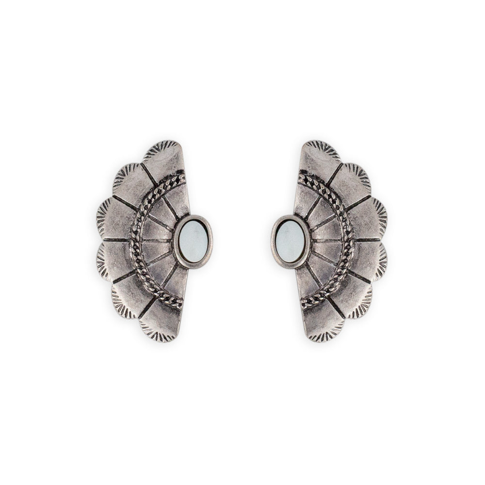 The Betty earring art deco inspired matte silver stud by Mint & Moss