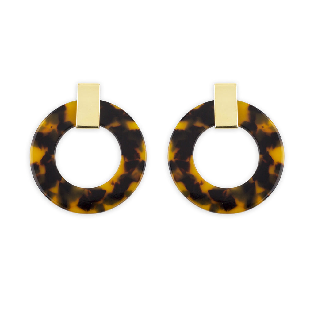 Fletcher Earrings Tortoiseshell Hoops and Gold by Mint & Moss