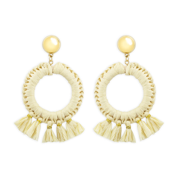 Georgia Raffia Cream Earrings by Mint and Moss