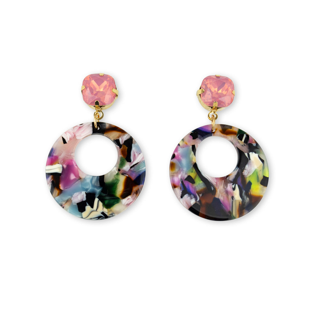 Statement Earring in Pink and multi colour with gemstones