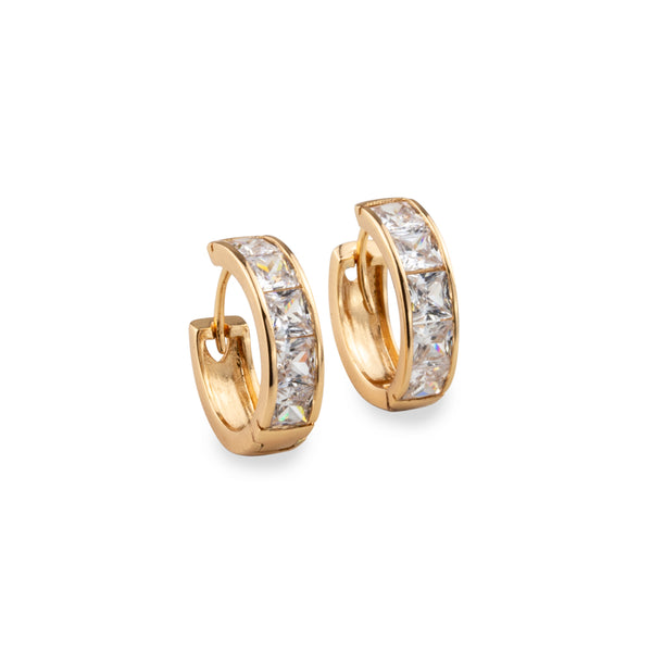 Gold and diamante hoop earrings