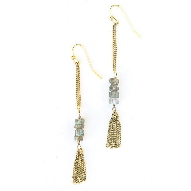 Stepping Stone Earrings Brass