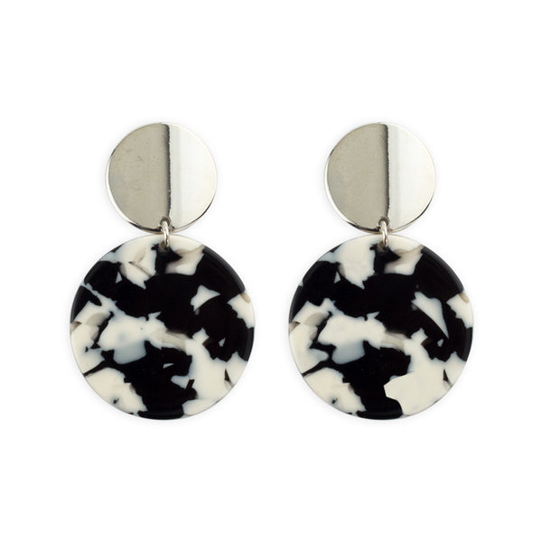 Black and white and silver statement earrings by Mint & Moss