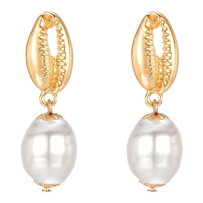 Gold sea shell and peal earring by Mint and Moss