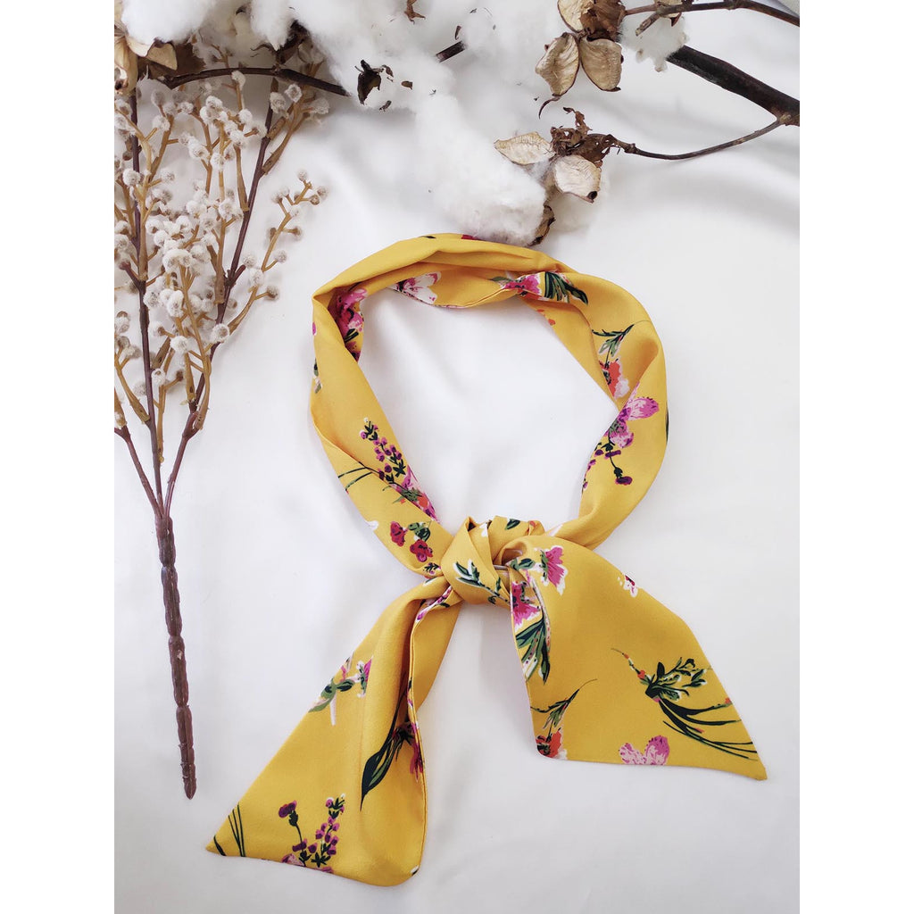 Floral Hair Scarf Yellow