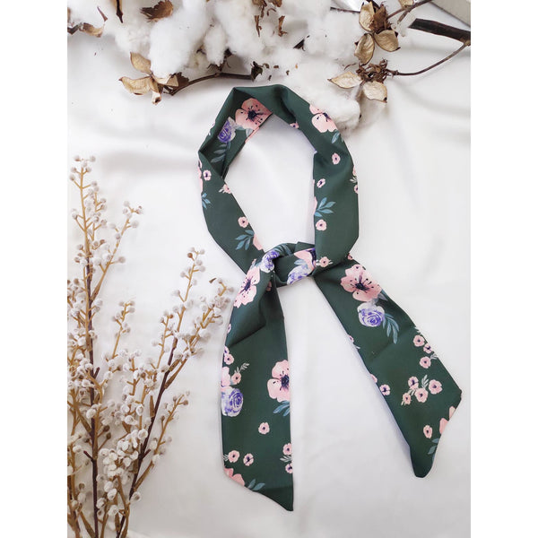 Floral Hair Scarf Green