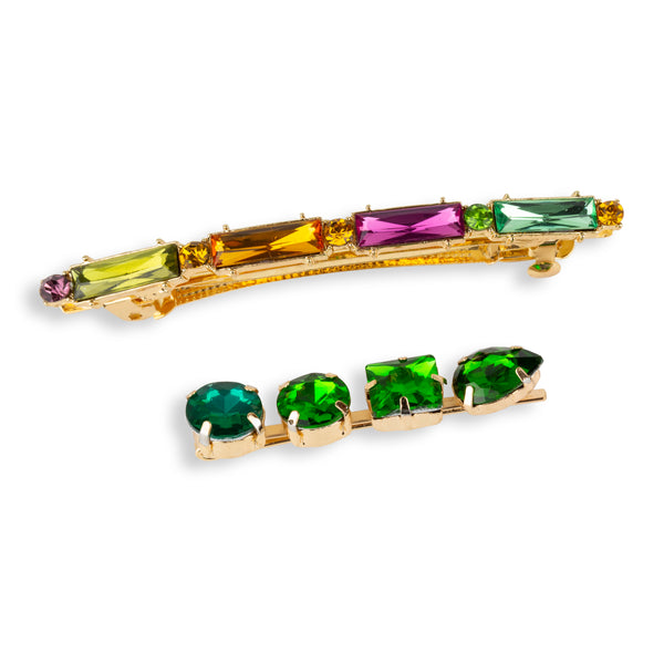 Jewelled Hair Clips in Green